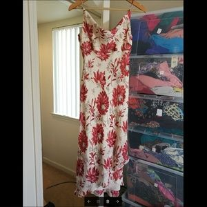 100% SILK Ann Taylor Maxi red floral dress